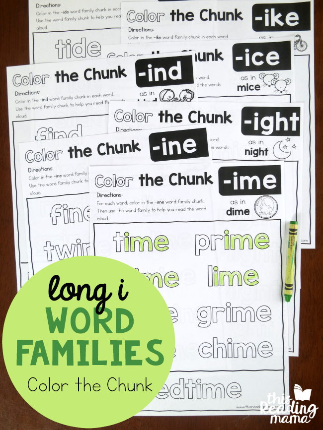 Color the Chunk – Long i Word Families