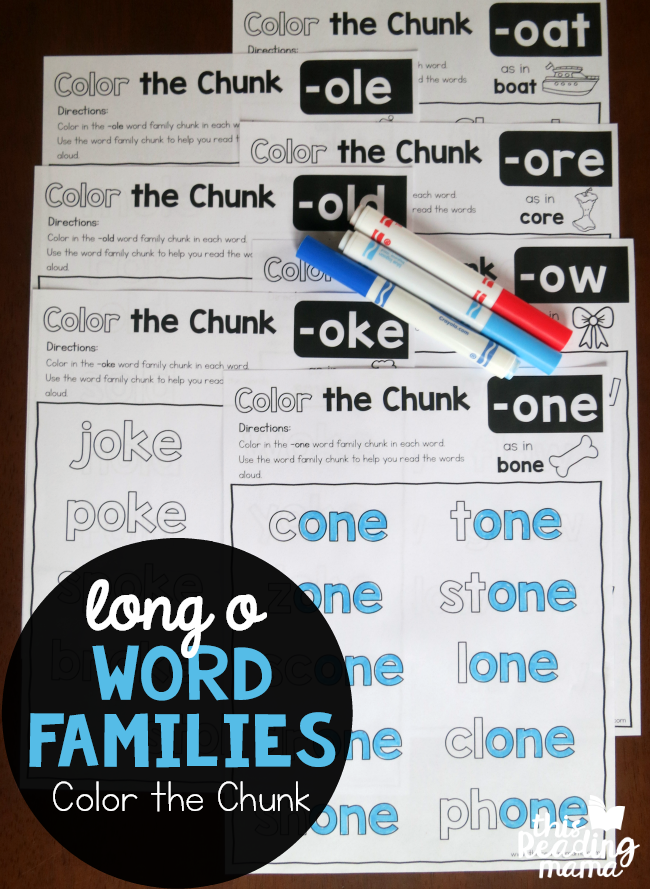 Color the Chunk – Long o Word Families