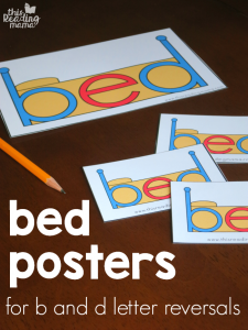 Bed Posters for b and d letter reversals