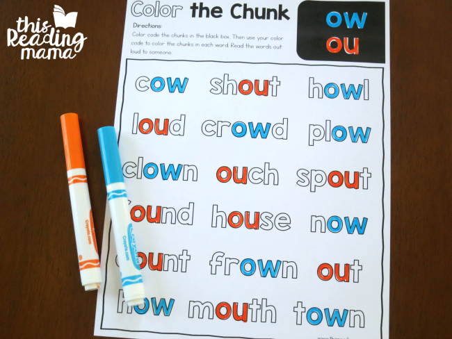 Diphthong Color the Chunk Mixed Review - This Reading Mama