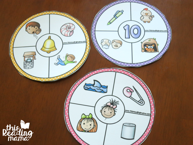 rhyming wheels - great for kids that struggle with rhyming words