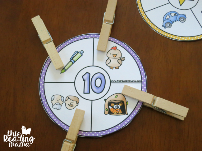 use clothes pins to clip the rhyming wheels