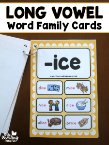 Long Vowel Word Family Cards