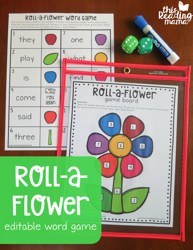 Roll a Flower Editable Word Game - This Reading Mama