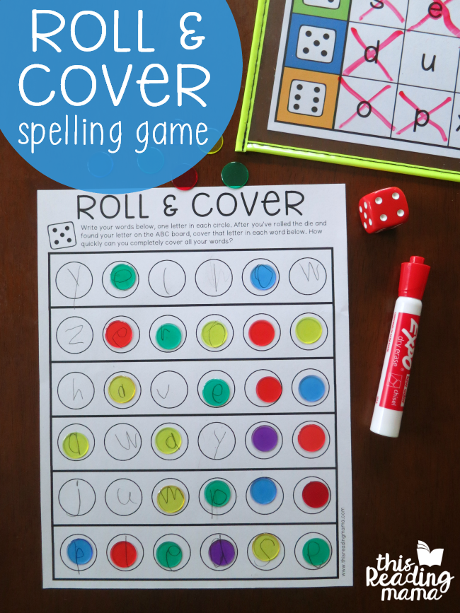 Roll and Cover Spelling Words Game - free printable - This Reading Mama