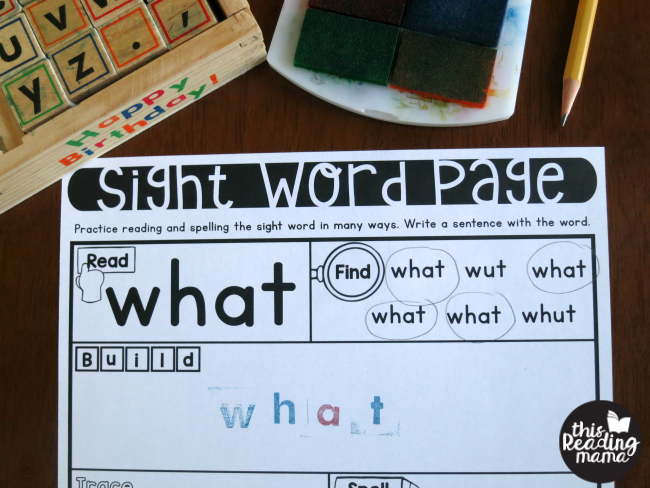 building sight words with letter stamps