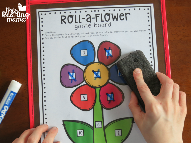 erasing numbers off the roll a flower game board