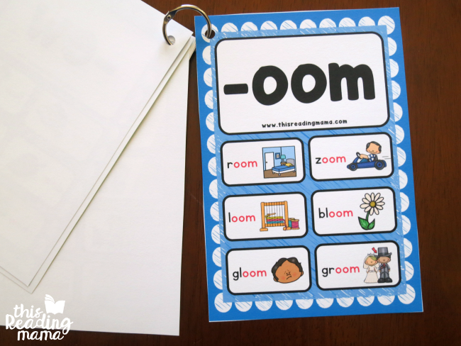 put the long vowel word family cards on a link to make a flip book