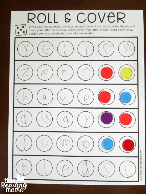 roll and cover spelling words game - cover extra spaces first