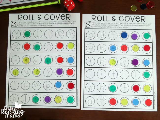 roll and cover spelling words game for two players