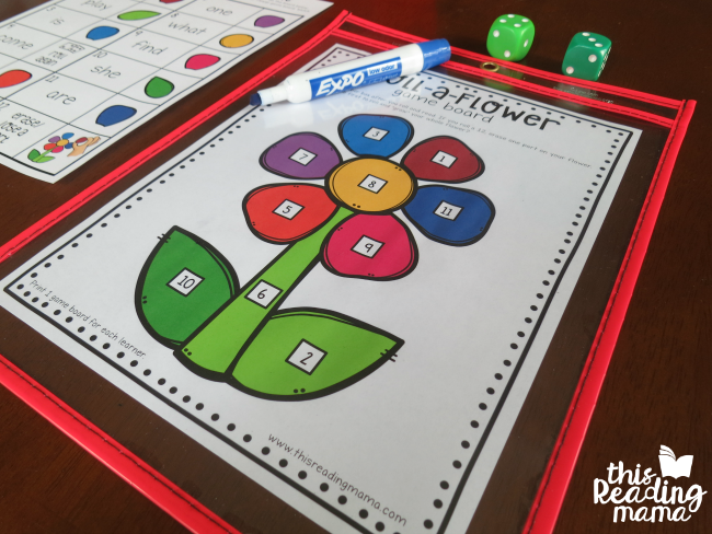 slip the flower game board in a dry erase pocket