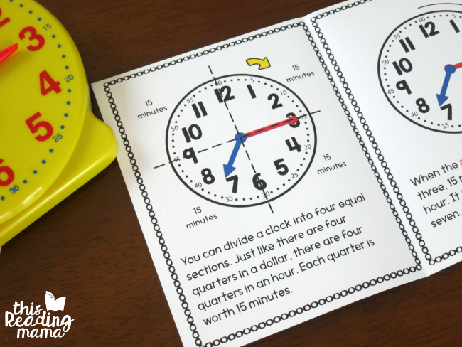 telling time by the quarter hour - inside the printable book