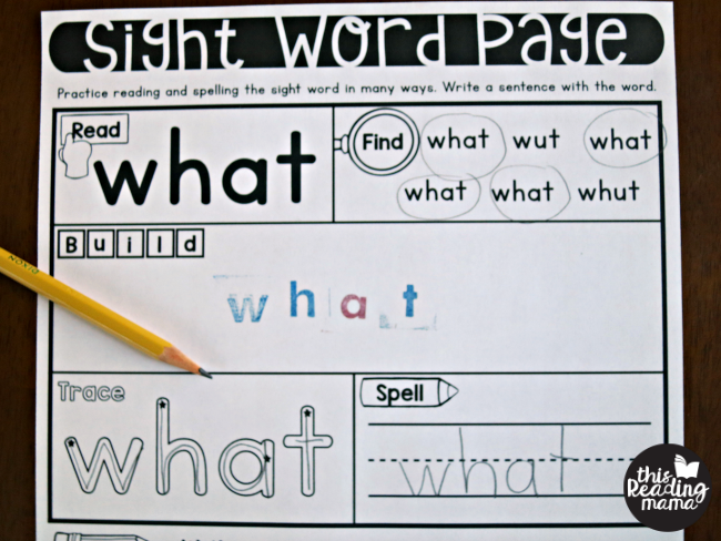 trace and spell sight words on sight word activity pages