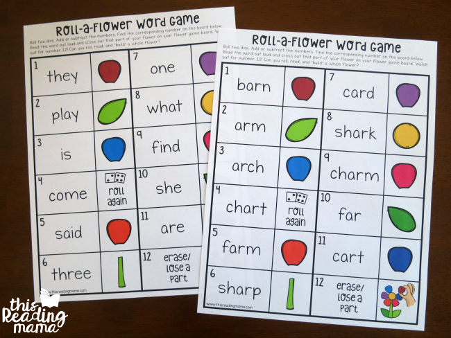 type sight words or phonics words on editable word boards