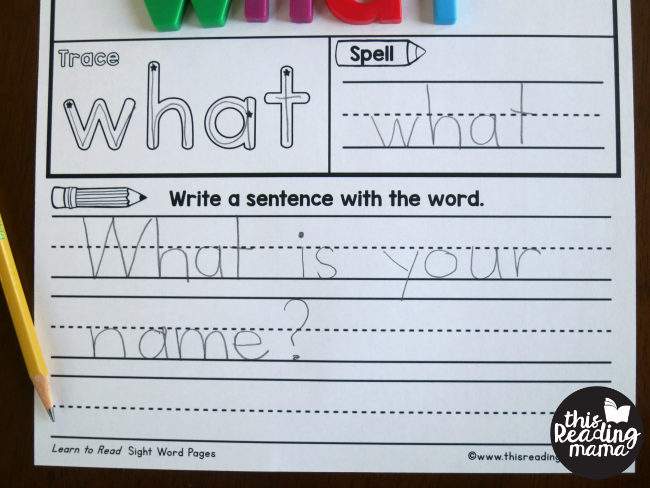 writing a sentence with the sight word on sight word activity pages