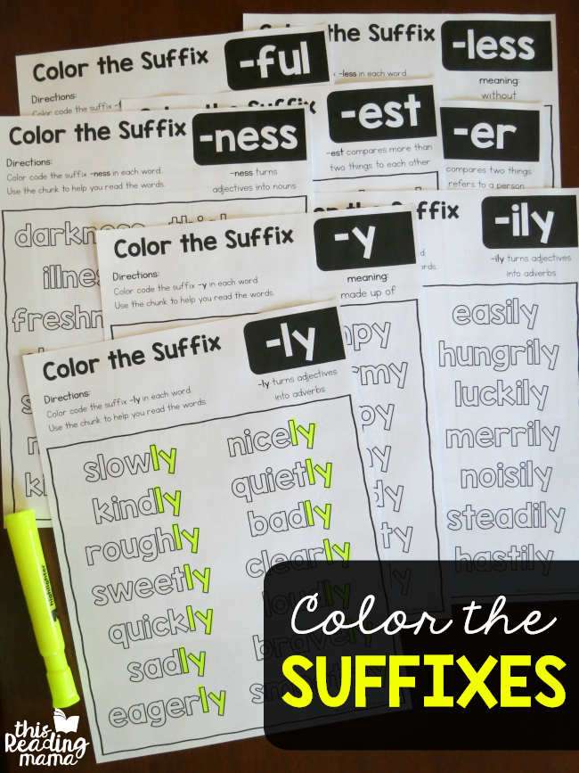 Color the Suffixes Worksheets - This Reading Mama