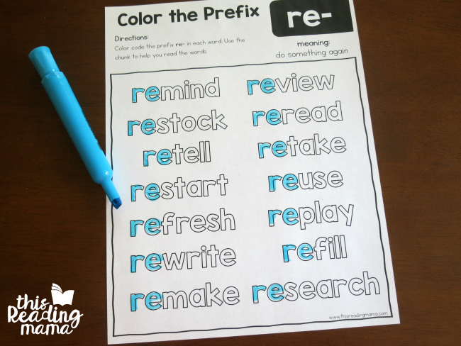 Color the prefix worksheet for re-