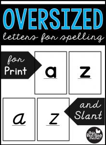 Oversized Letter Cards for Spelling