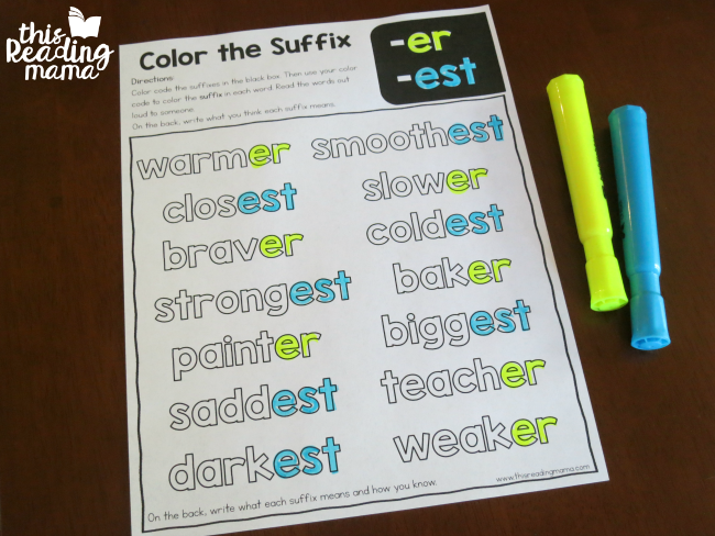 color the suffix mixed review page for -er and -est