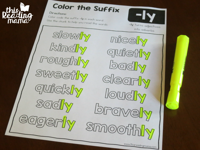 color the suffix page for -ly