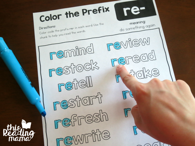 reading words with the prefix re-