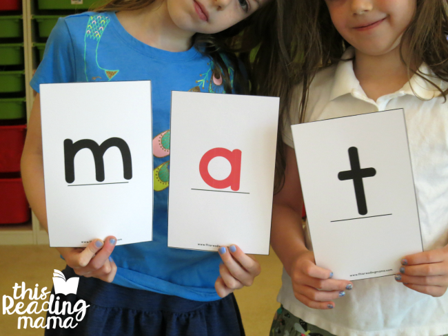 spelling words with oversized letter cards