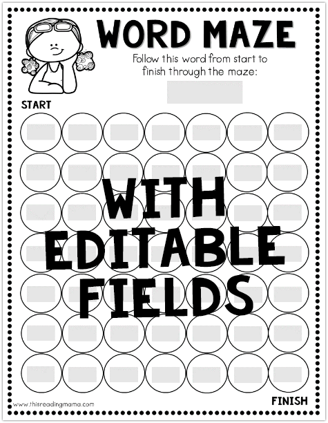 Editable Sight Word Maze for Summer Learning