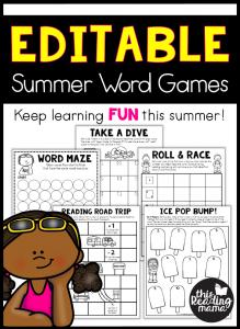Editable Summer Word Games