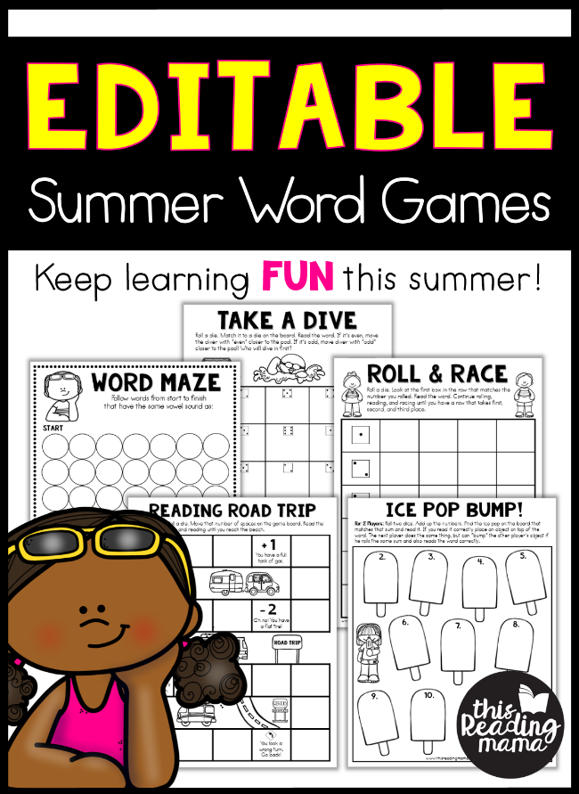 Editable Summer Word Games