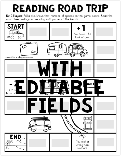 Reading Road Trip- Editable Summer Word Game