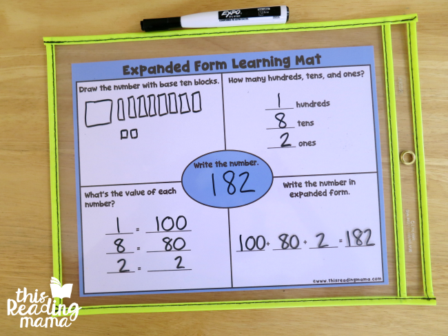 example with expanded form learning mat
