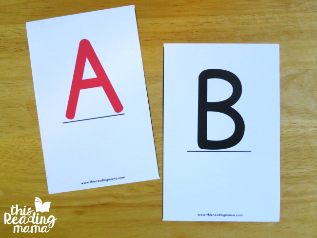 oversized uppercase letter cards A and B