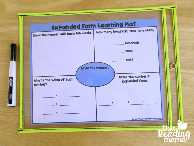 slip expanded form learning mat in a dry erase pocket or laminate