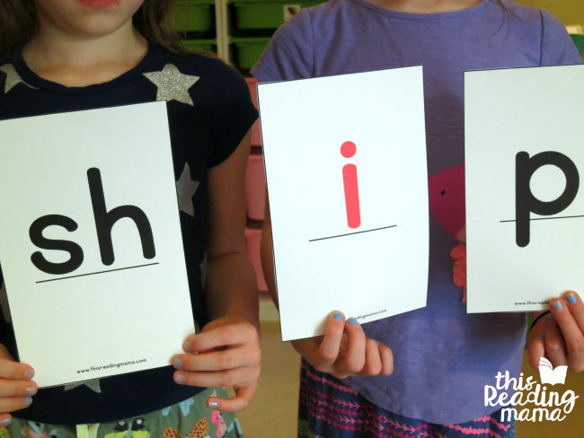 spelling words with oversized digraph cards