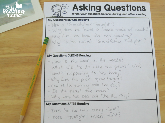 "writing questions before, during, and after reading ""Grandfather Twilight"""