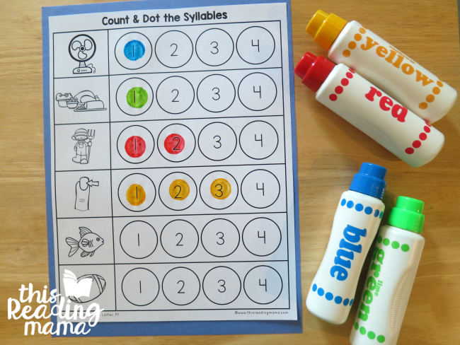 Count and Dot the Syllables Pages from Reading the Alphabet curriculum