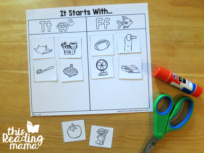 Cut and Paste Beginning Letter Sort from Reading the Alphabet