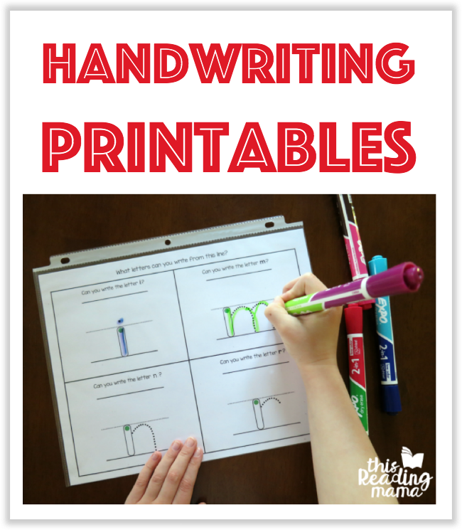Handwriting Printables from This Reading Mama