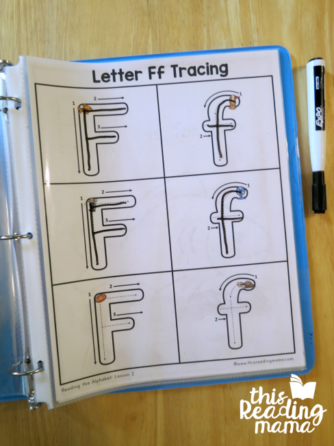Letter Tracing Pages from Reading the Alphabet - example for uppercase and lowercase