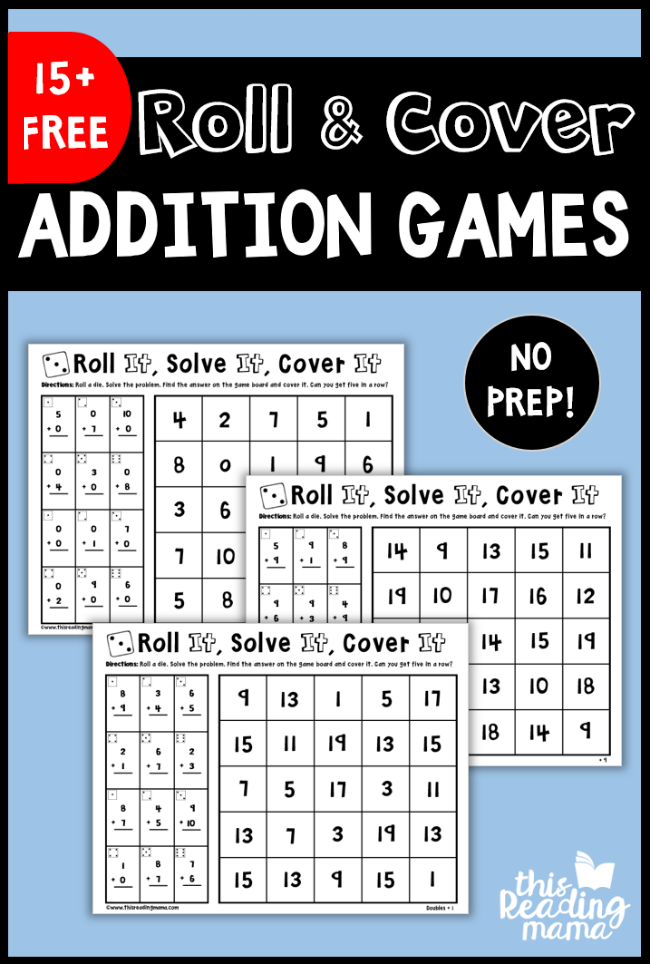 No Prep Addition Games - Roll and Cover - This Reading Mama