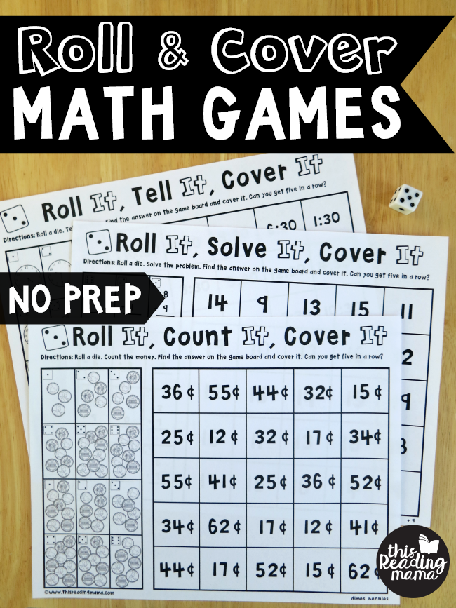 photo about Printable Fraction Games called No Prep Portion Video games: Roll and Protect - This Studying Mama