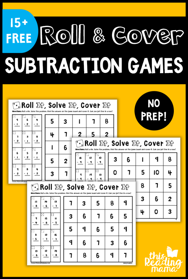 No Prep Subtraction Games: Roll & Cover