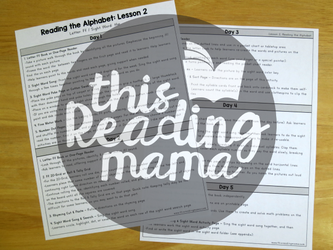 Reading the Alphabet Letter Lesson Outline Example