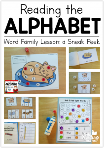 Reading the Alphabet Word Family Lessons