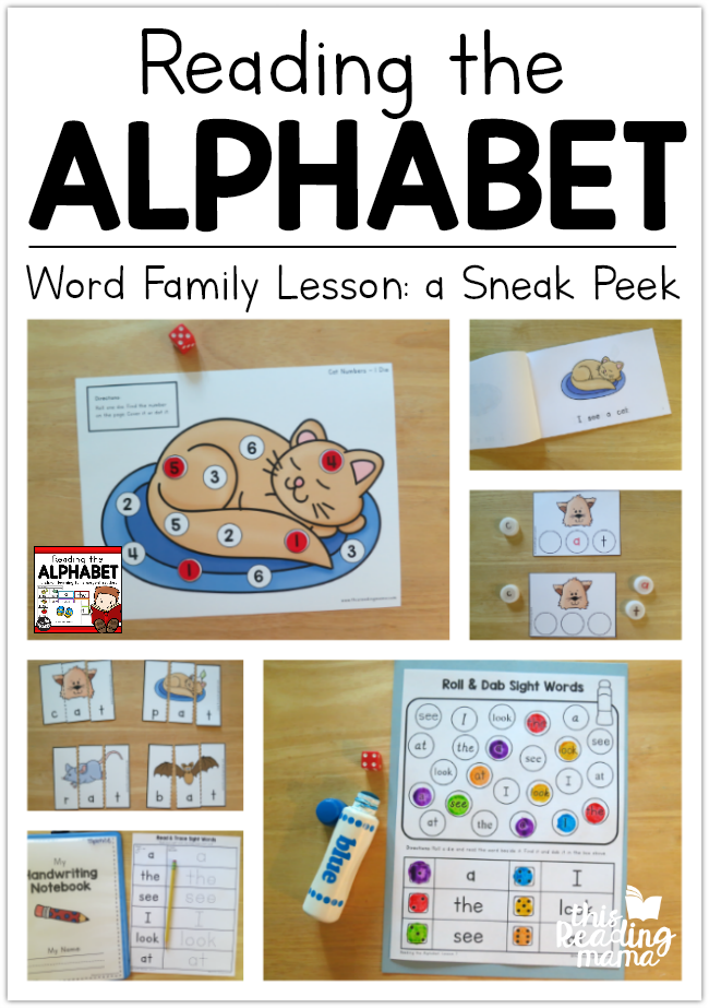 Reading the Alphabet Word Family Lessons - a Sneak Peek - This Reading Mama