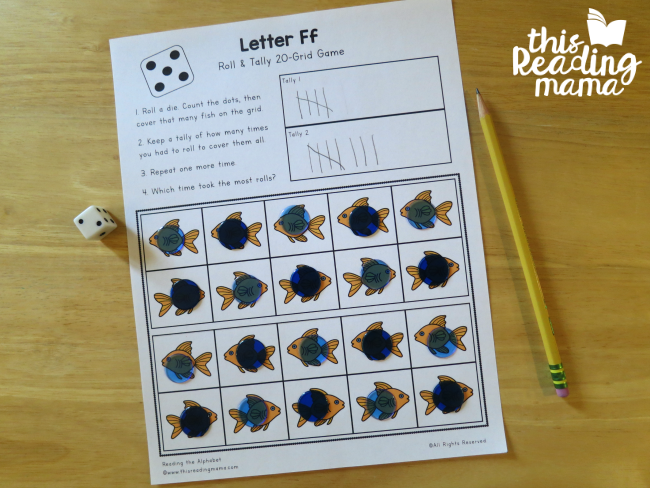 Roll and Tally 20-Grid from Reading the Alphabet