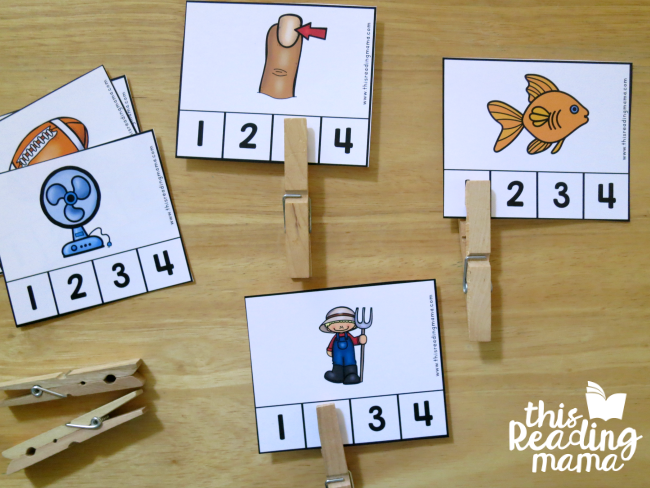 Self-Checking Syllable Clip Cards from Reading the Alphabet curriculum