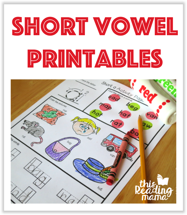 Short Vowel Printables from This Reading Mama