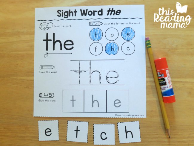 Sight Word Activity Pages from Reading the Alphabet