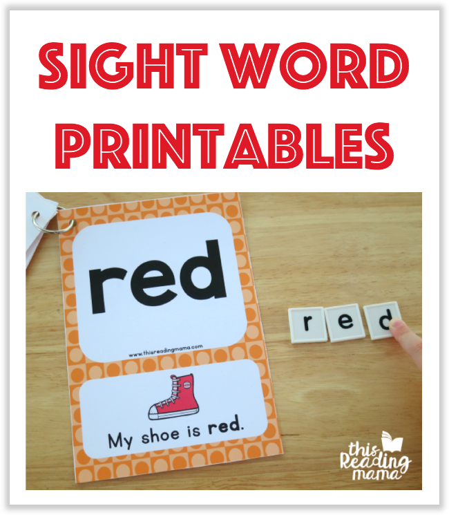 Sight Word Printables from This Reading Mama
